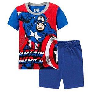 Pijama Curto Capitão América Ver. 3 Infantil