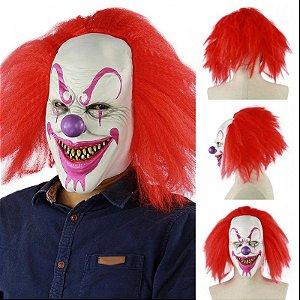 Máscara Látex Palhaço Pegadinha com Cabelo - Fantasias