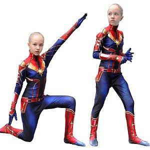 Fantasia Cosplay Capitã Marvel Infantil - Marvel