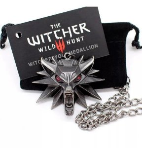 Colar Geralt The Witcher Medalhão Escola do Lobo