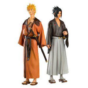 Kit com 2 Estátuas Naruto e Sasuke 30 Cm - Naruto Shippuden