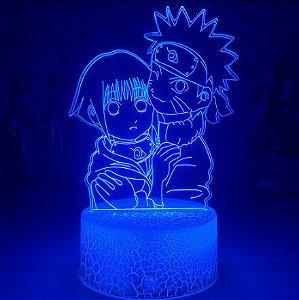 Luminária 3D Naruto e Hinata 16 Cores com controle remoto - Naruto Clássico