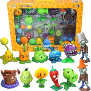 Kit Plants Vs Zombies com 12 peças - Plantas Vs Zumbis