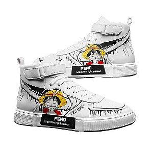 Tênis Star Luffy Cano Alto Courino Alta Qualidade - One Piece