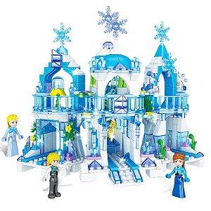 Castelo Gelado Princesas 465 peças + 3 personagens - Blocos de Montar