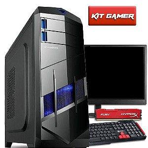 Computador Gamer Com Monitor 18,5  Amd Quad Core A8 7600 8GB Hyperx HD 1TB Radeon R7