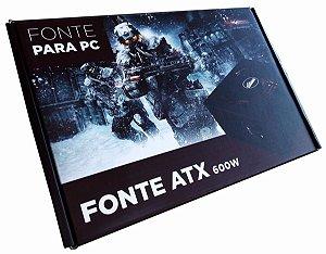 Fonte Atx 600w Para Jogos Pc Gamer 600 Watts Reais Com Leds
