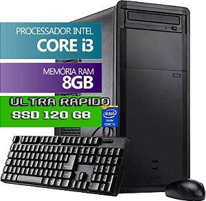 CPU DESKTOP INFOTECLAN INTEL CORE I3 8GB DDR3 HDMI HD SSD 120GB  BUSINESS