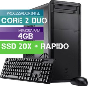 Cpu Computador Desktop Intel Core 2 Duo 4gb Hd Ssd 20x + Rap