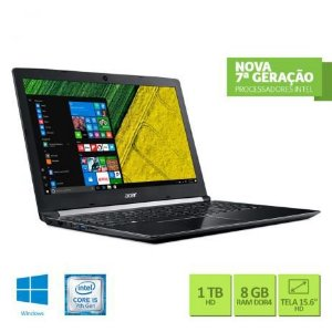 "Notebook Acer A515-51-51UX Intel Core i5-7200U 8GB RAM 1TB HD 15.6"" HD Windows 10 TRIAL"