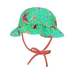 Chapéu de Praia Infantil Kids Estrelas do Mar Verde