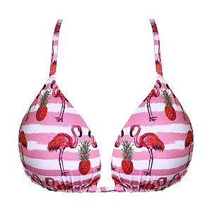 Top de Biquíni Cortininha Flamingo Rosa