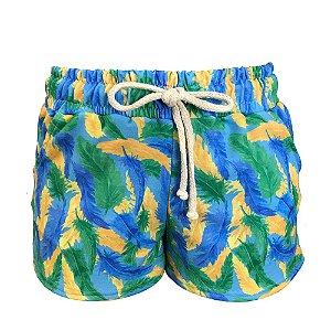 Shorts Saída de Praia Penas Colorido