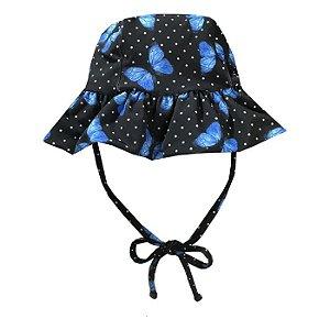 Chapéu de Praia Infantil Kids Borboleta Azul