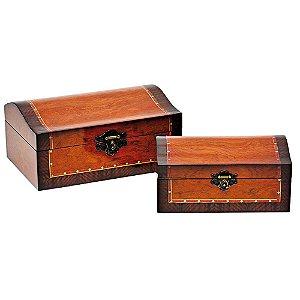 Conjunto de Baús de Madeira Laqueada HE6670 - 2 Peças