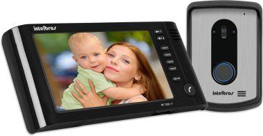 """Kit Vídeo Porteiro IV 7010 HF com LCD Colorido 7"""" e Viva-voz Preto Intelbras"""