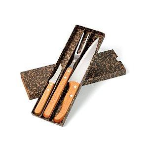 Conjunto de Facas Inox / Bambu Special Line KF-00713 Welf - 3 peças