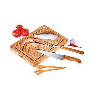 Conjunto para Churrasco em Bambu / Inox Paris Welf - 4 peças