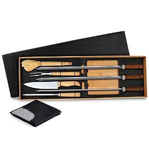 Conjunto para Churrasco em Bambu / Inox com Espetos MF-04123 Welf - 9 peças