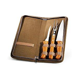 Conjunto de Facas Inox / Bambu com estojo Montreal Welf - 4 peças