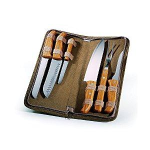 Conjunto de Facas Inox / Bambu com estojo Montreal PB-00643 Welf - 7 peças
