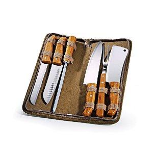 Conjunto de Facas Inox / Bambu com estojo Montreal PB-00653 Welf - 7 peças