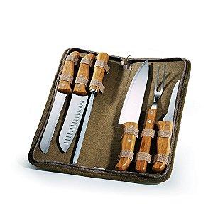 Conjunto de Facas Inox / Bambu com estojo Montreal PB-00673 Welf - 7 peças