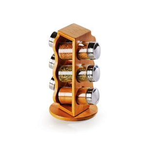 Porta Condimentos em Bambu / Vidro Salzburgo Welf - 7 peças