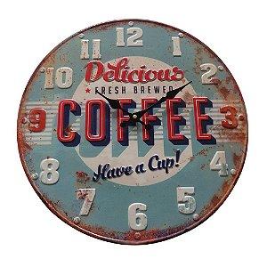 Relógio de Parede Decorativo Bottle Cap Delicious Coffee - 40 cm
