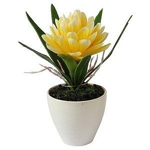 Flor Artificial Decorativa Bromélia Amarela - 17 cm