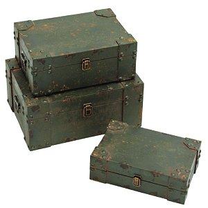 Conjunto de Baús Decorativos Rusty Toolbox Coloridos de Madeira - 3 peças