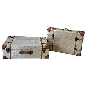 Conjunto de Maletas Decorativas de Madeira Old Traveller - 2 peças