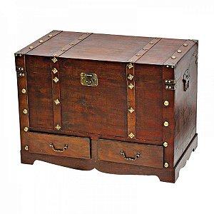Conjunto de Baús Decorativos Colonial de Madeira com gavetas - 3 peças