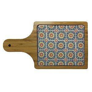 Tábua Retangular de Bambu e Cerâmica - 32 cm