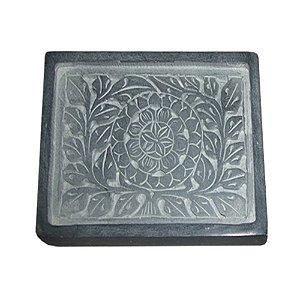 Saboneteira em Pedra Cinza Escuro - 14 x 11 cm