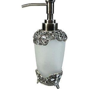 Porta Sabonete Líquido de Vidro com Prata e Cristal