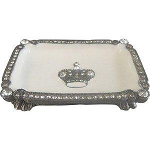 Saboneteira de Prata e Cristal - 8 x 5 cm