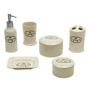 Conjunto para Banheiro de Porcelana / Inox - 6 peças