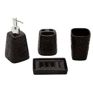 Conjunto para Banheiro de Cerâmica / Inox Preto - 4 peças