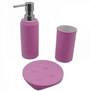 Conjunto para Banheiro Emborrachado Rosa Claro - 3 peças