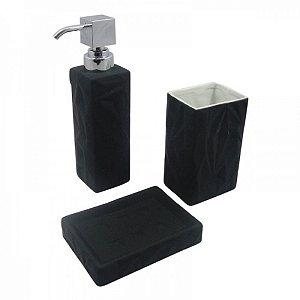 Conjunto para Banheiro Emborrachado Preto - 3 peças