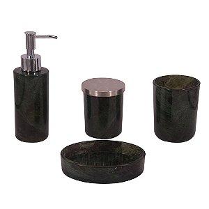 Conjunto para Banheiro de Vidro Verde Escuro - 4 peças