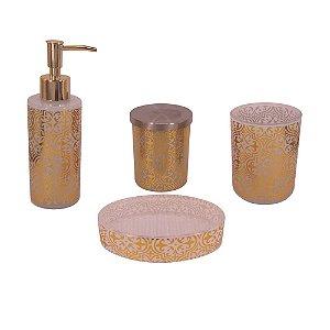 Conjunto para Banheiro de Vidro Dourado - 4 peças