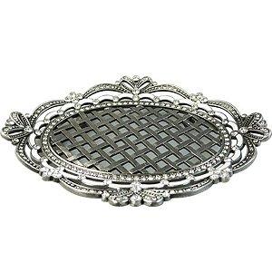Porta Sabonete de Metal Prata com Cristal - 15 x 14 cm
