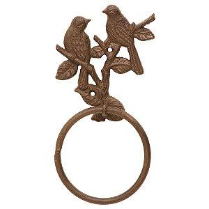 Porta Toalha Decorativo de Metal Marrom Birds