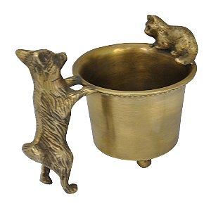Porta Canetas Decorativo de Metal Dourado