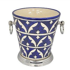 Balde de Gelo de Cerâmica Azul / Branco - 20 cm