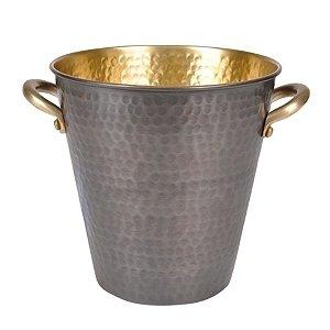 Balde de Gelo em Inox com Alças Laterais Cinza Escuro / Dourado