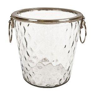Balde de Gelo de Vidro com Alças Laterais e Detalhes em Metal - 20 cm