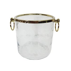 Balde de Gelo de Vidro com Alças Laterais e Detalhes em Dourado - 18 cm